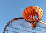 Im Freibad Günzburg gibt es ein Badminton und Volleybald Feld