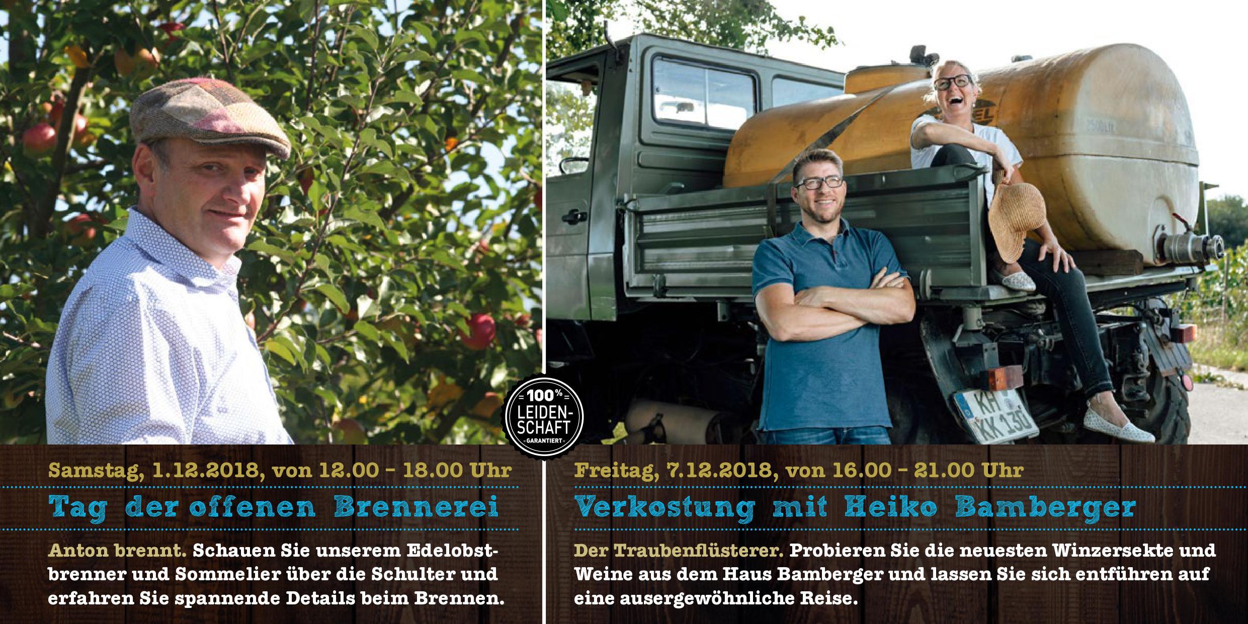 Tag der offenen Brennerei / Weinverkostung mit Heiko Bamberger