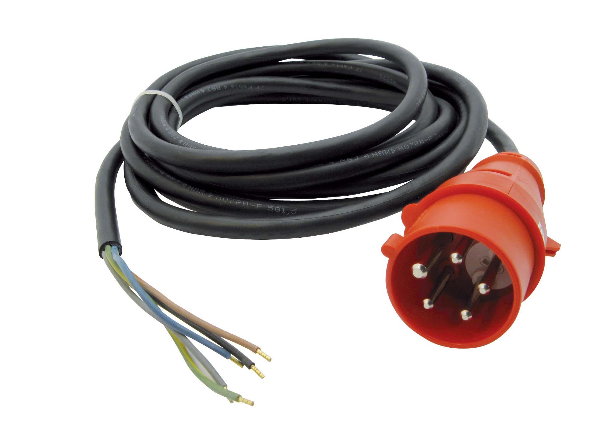 Gummi Netzleitungen 2P+E und 3P+N+E mit Stecker