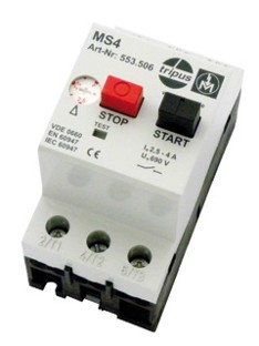 Motor protection switch 0,1 until 32A (low volt relaise, auxilliary switch, housing, line cable)